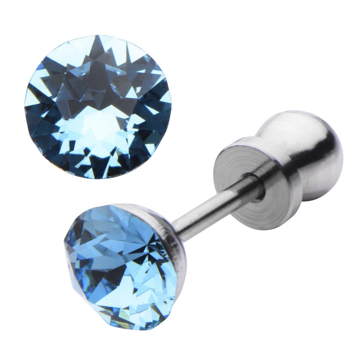 Silver Stainless Steel 5mm Aquamarine CZ Safety Back Ear Stud Earrings