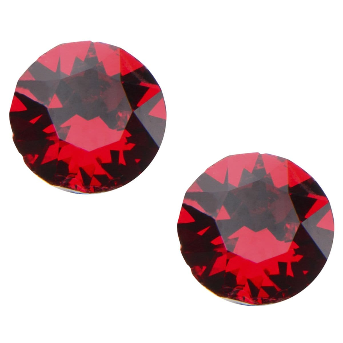 Silver Stainless Steel 5mm Bright Red CZ Safety Back Ear Stud Earrings