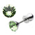 Silver Stainless Steel 5mm Light Green CZ Safety Back Ear Stud Earrings
