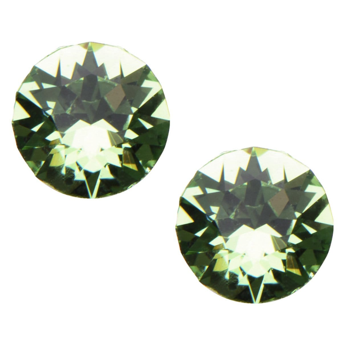 Silver Stainless Steel 5mm Light Green CZ Safety Back Ear Stud