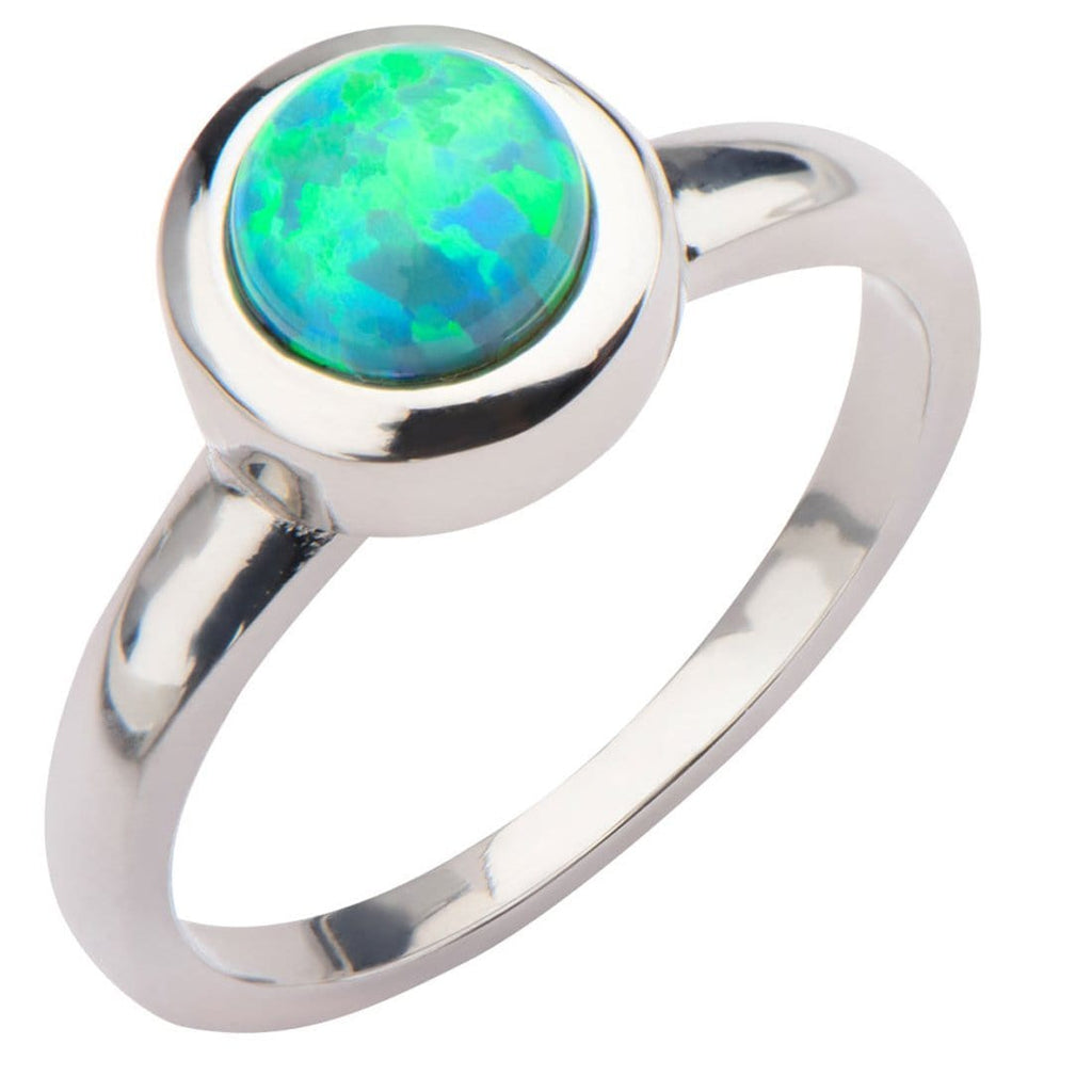 Silver Stainless Steel 6 mm Bezel Set Round Artificial Green Opal Ring Rings