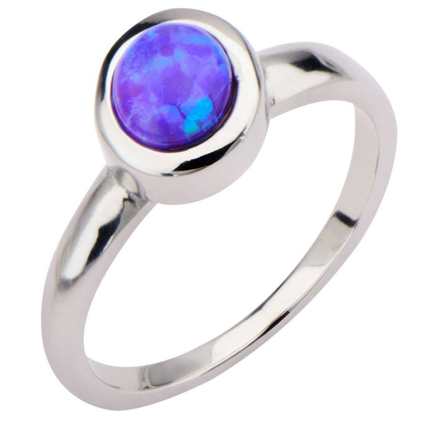 Silver Stainless Steel 6 mm Bezel Set Round Artificial Purple Opal Ring Rings