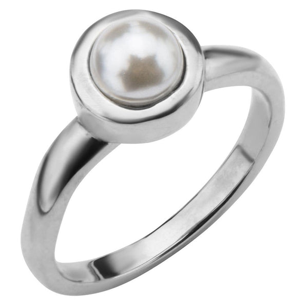 Silver Stainless Steel 6mm Bezel Set Pearl Ring Rings