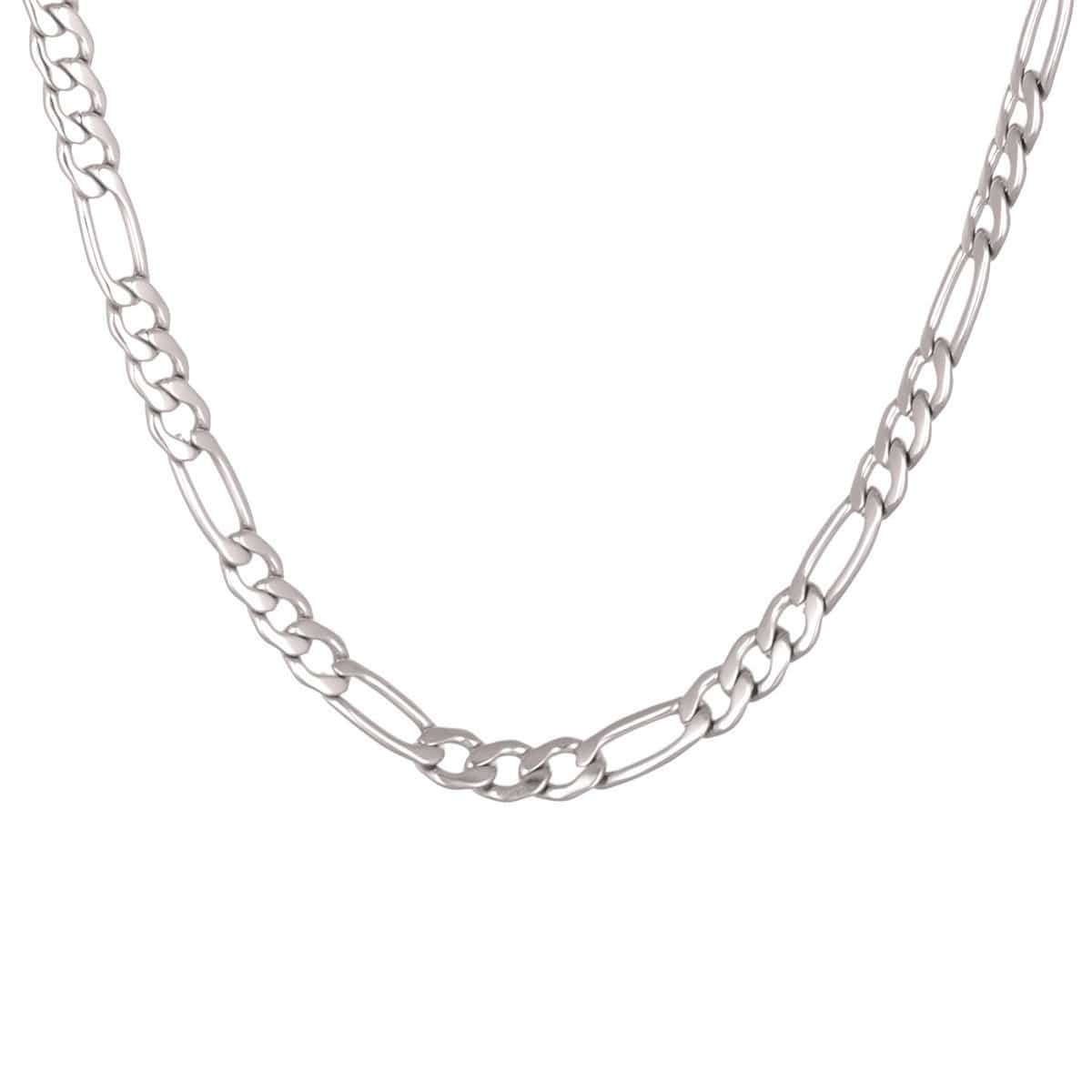 Silver Stainless Steel 6mm Figaro Polished Chain Chains