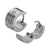 Silver Stainless Steel 7mm Grooved-Line White Crystal Huggies Earrings
