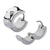 Silver Stainless Steel 7mm Single White Crystal Huggies Earrings