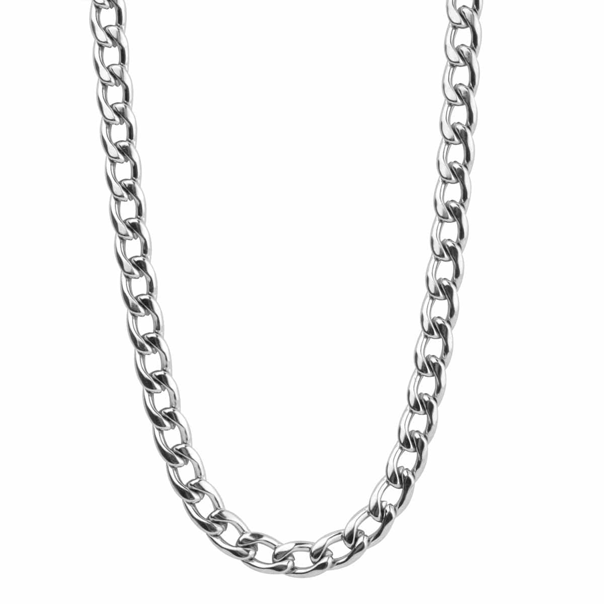 Silver Stainless Steel 8 mm Round Curb Chain Chains