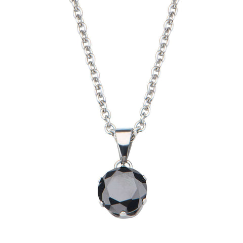 Silver Stainless Steel 8mm Solitaire Black CZ Pendant Pendants