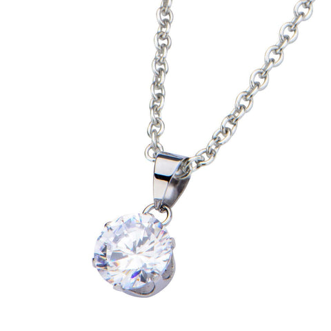 Silver Stainless Steel 8mm Solitaire White CZ Pendant Pendants