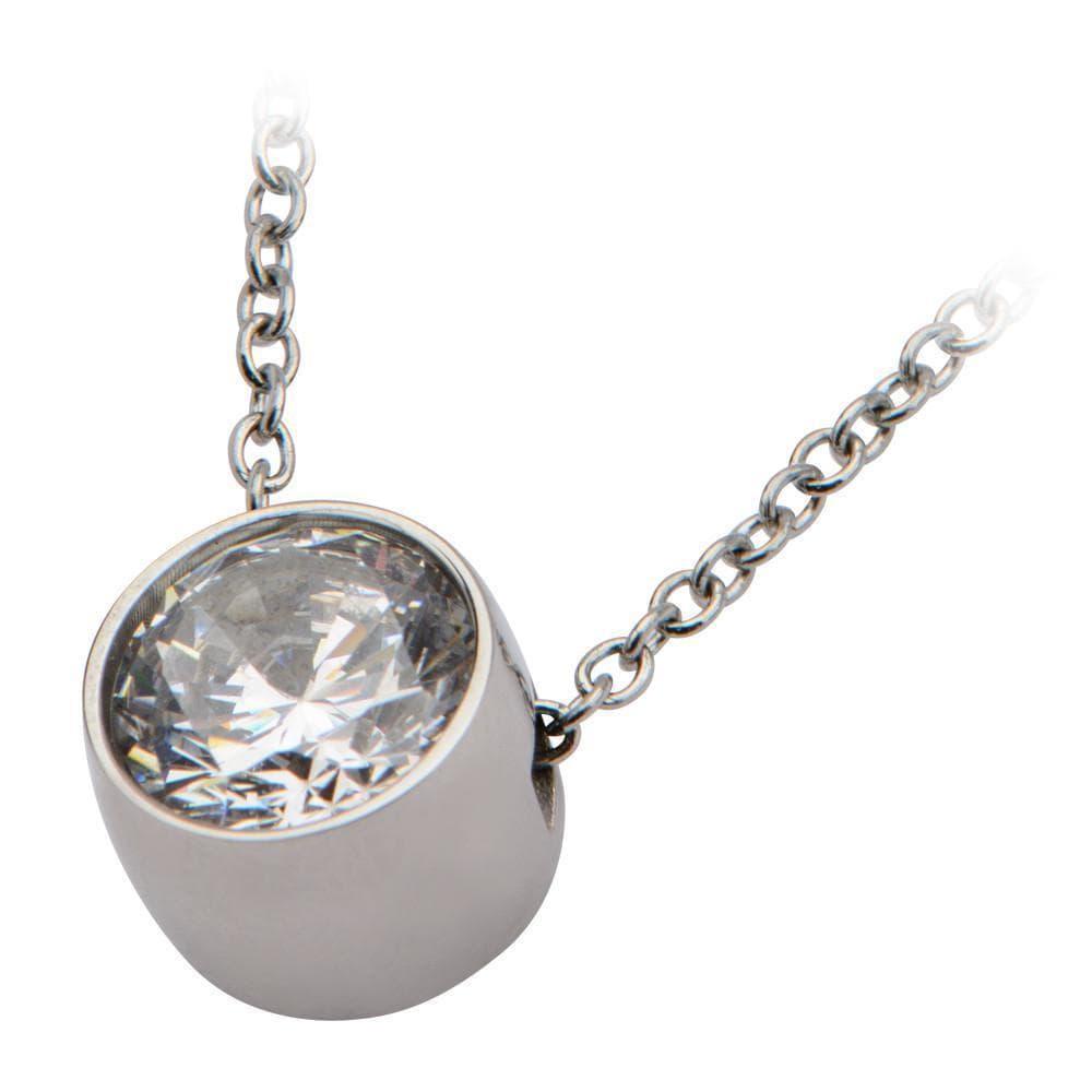Silver Stainless Steel 8mm White CZ Solitaire Pendant & Chain Pendants