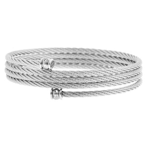 Silver Stainless Steel Adjustable Braided Cable Wire with CZ Detail Bangle Bracelets
