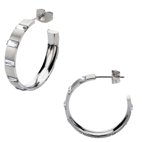 Silver Stainless Steel Alternating Rectangle Crystal Hoops Earrings