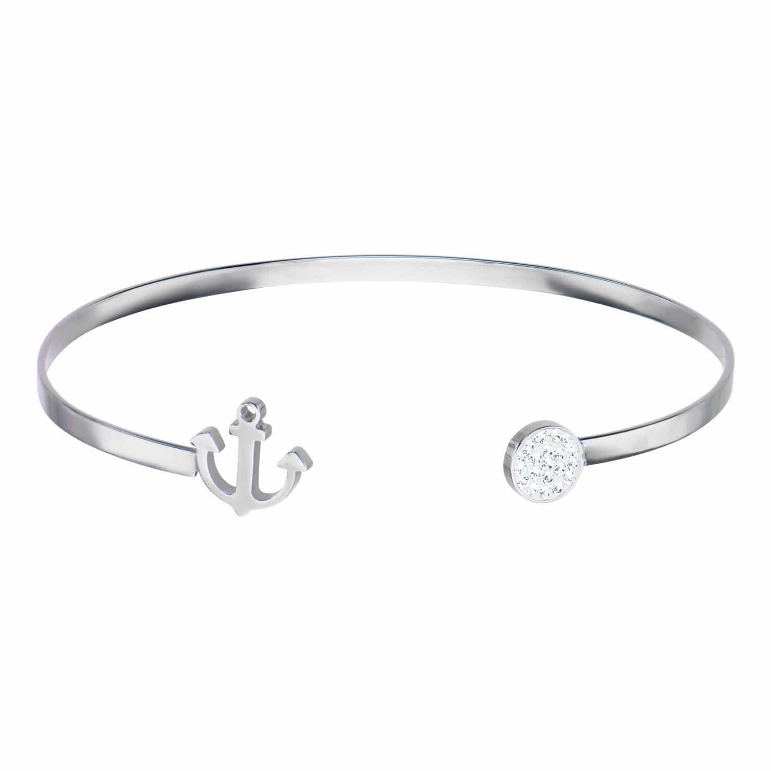 Silver Stainless Steel Anchor and Studded Crystal Disc Open Bangle Bracelets