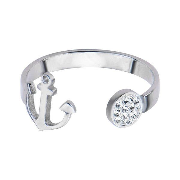 Silver Stainless Steel Anchor & Crystal Disc Open Ring Rings