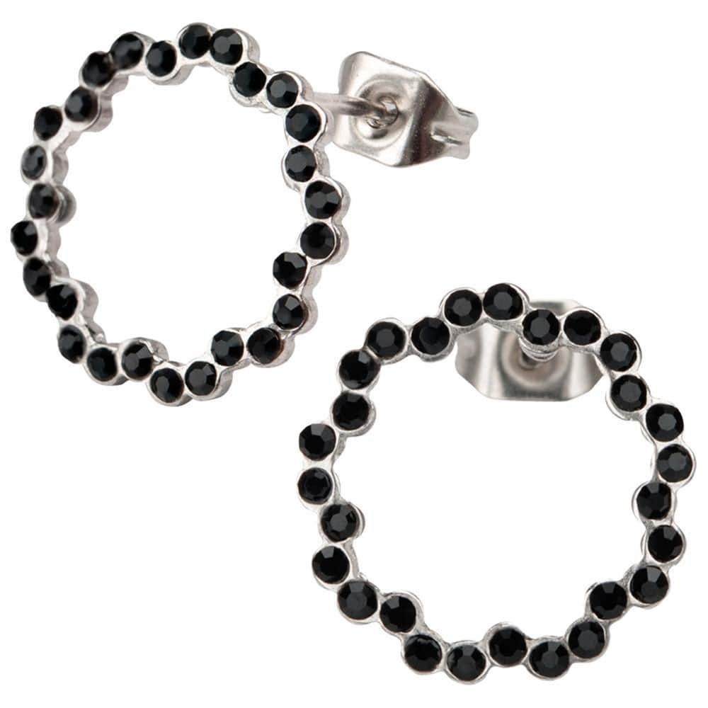 Silver Stainless Steel and Black Crystal Circle Design Earrings Earrings