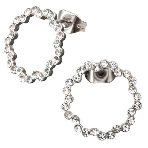 Silver Stainless Steel and White Crystal Circle Design Earrings Earrings