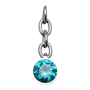 Silver Stainless Steel Aqua CZ Charm Pendant Accessories