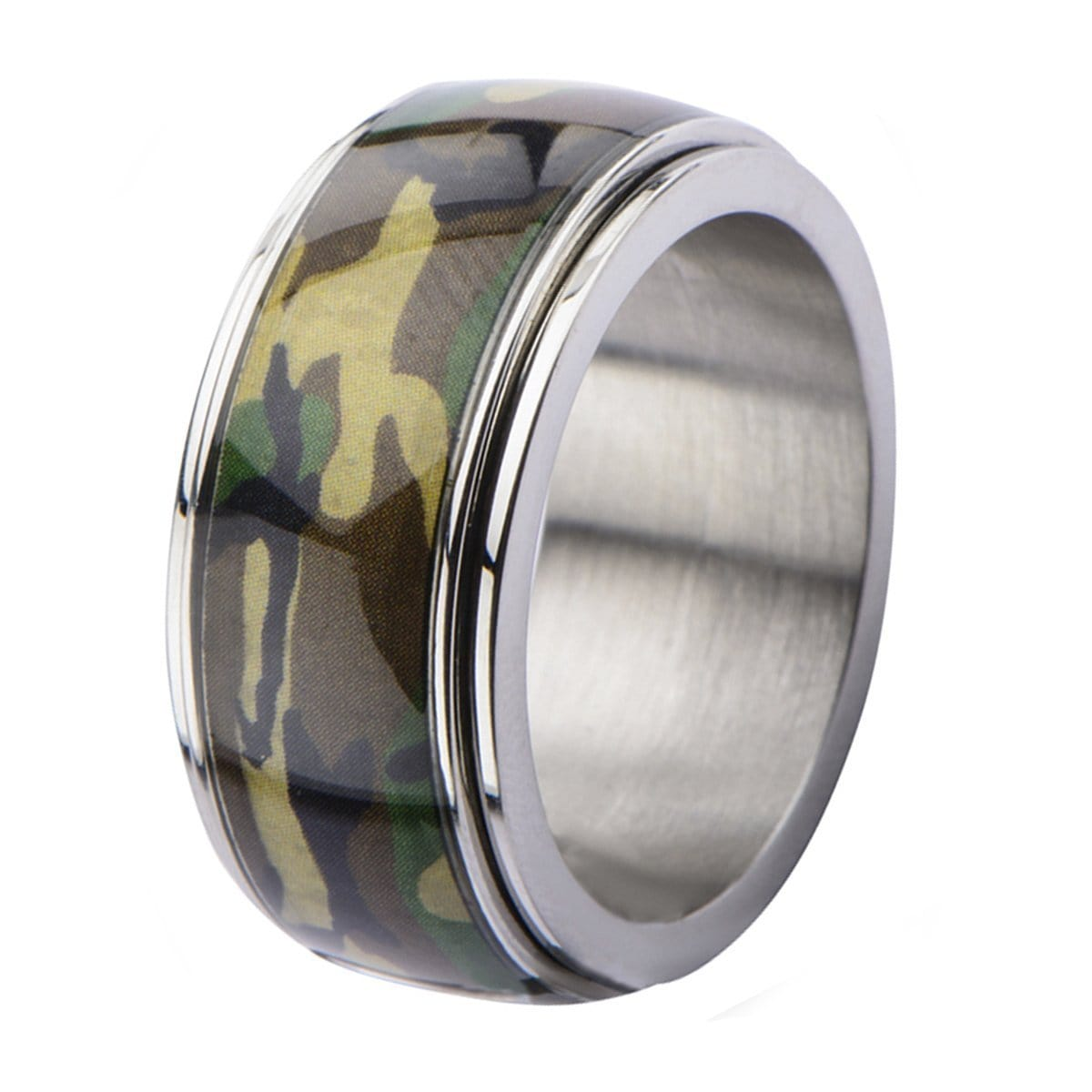 Silver Stainless Steel Army Camo Collection Band Rings