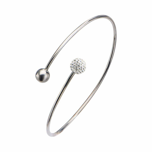 Silver Stainless Steel Ball with Studded Crystal Open Bangle Bracelets