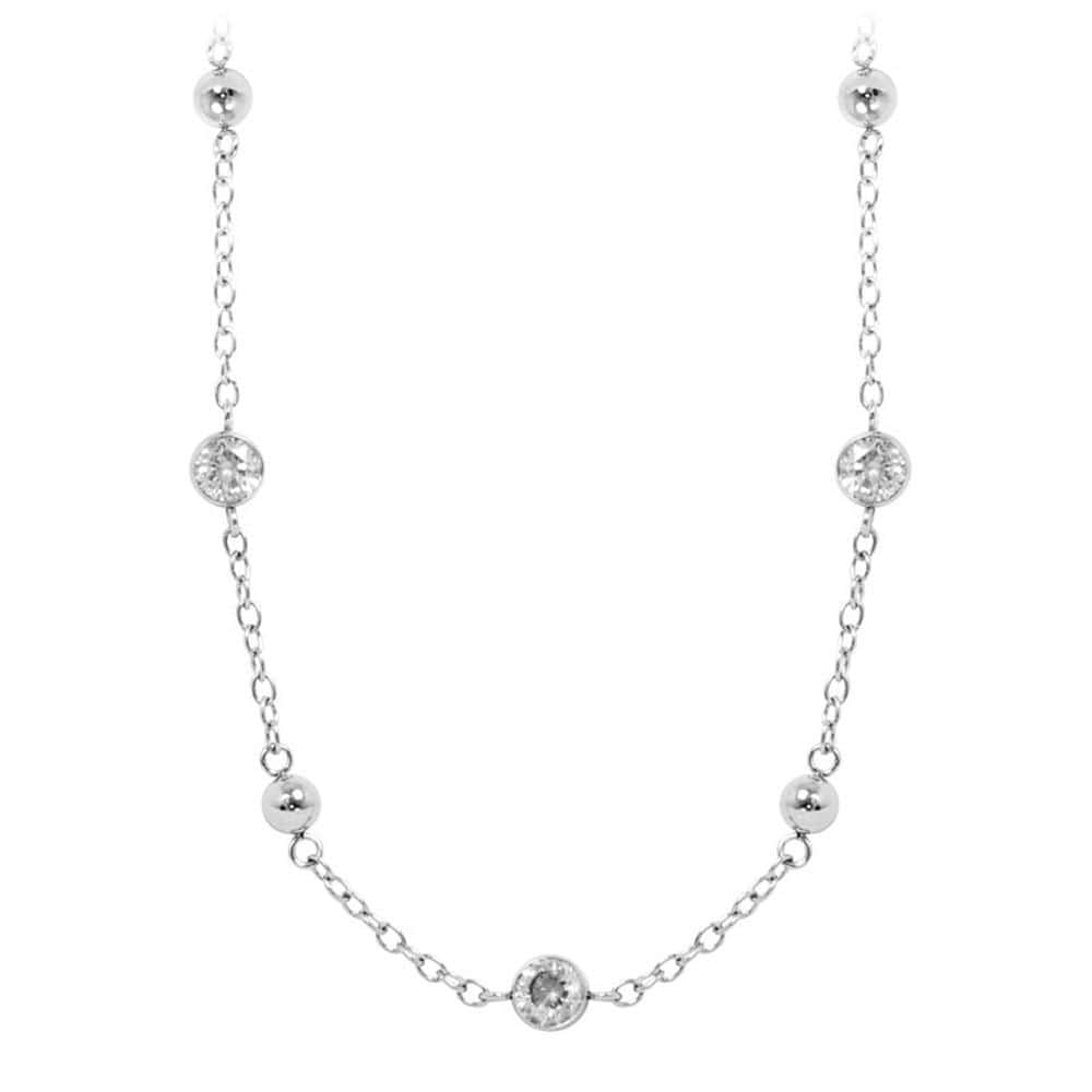 Silver Stainless Steel Bead and Cubic Zirconia Necklace Chains
