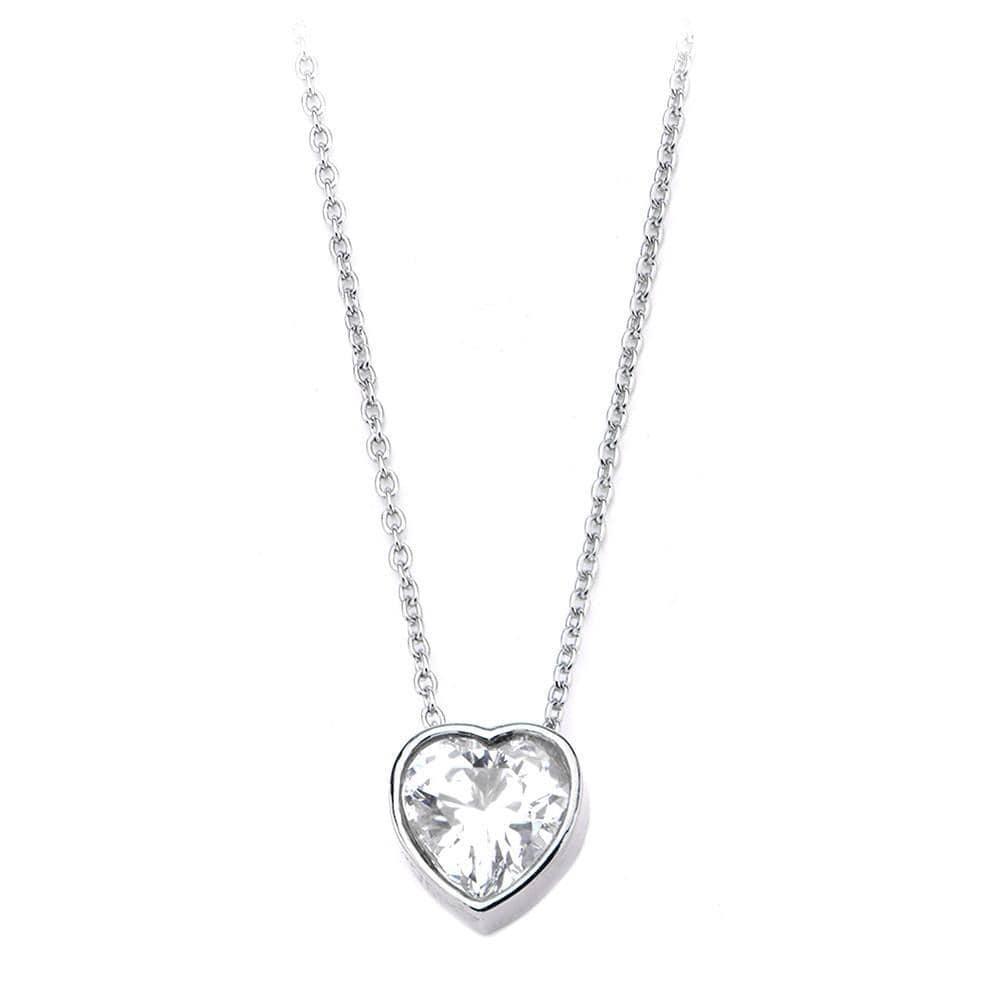 Silver Stainless Steel Bezel Heart White CZ Pendant & Chain Pendants