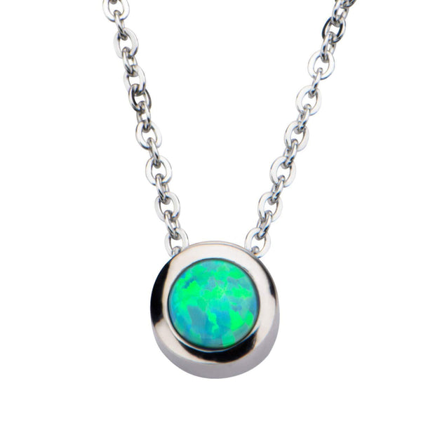 Silver Stainless Steel Bezel Set Green Artificial Opal Pendant with Chain Pendants
