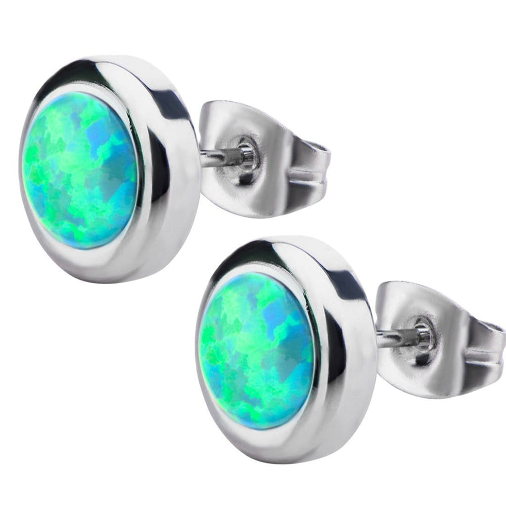 Silver Stainless Steel Bezel Set Green Artificial Opal Stud Earrings Earrings