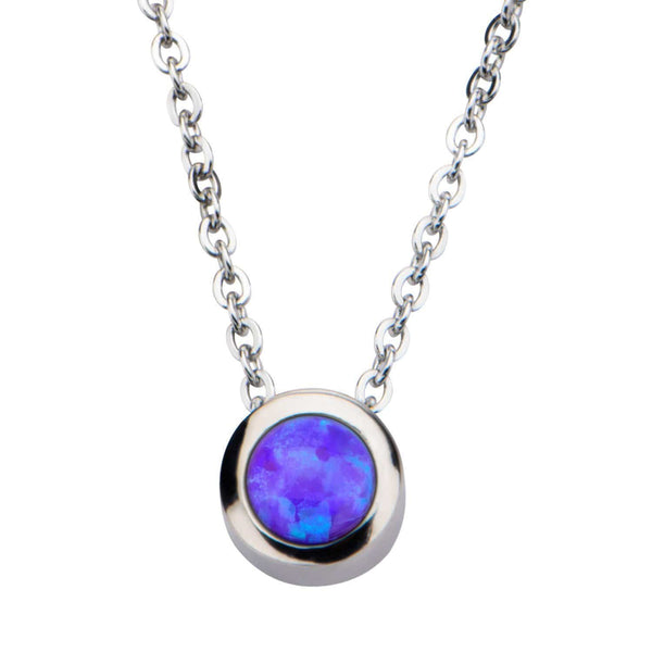 Silver Stainless Steel Bezel Set Purple Artificial Opal Pendant with Chain Pendants