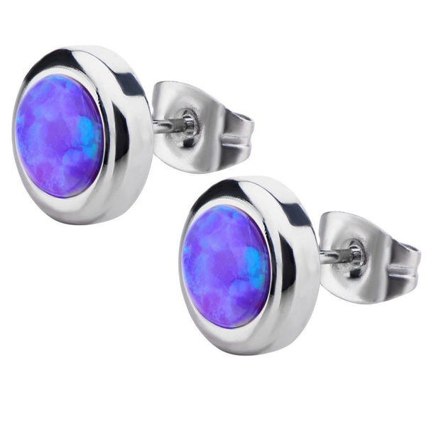 Silver Stainless Steel Bezel Set Purple Artificial Opal Stud Earrings Earrings
