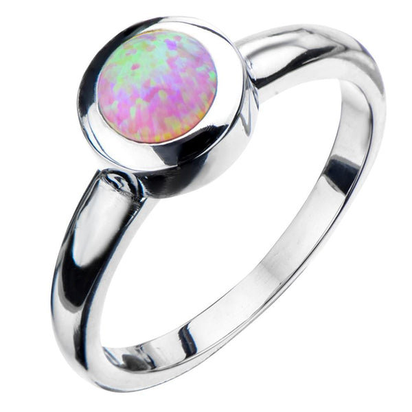 Silver Stainless Steel Bezel Set Round Pink Opal Ring Rings