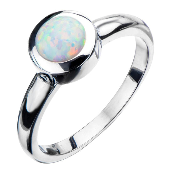 Silver Stainless Steel Bezel Set Round White Opal Ring Rings