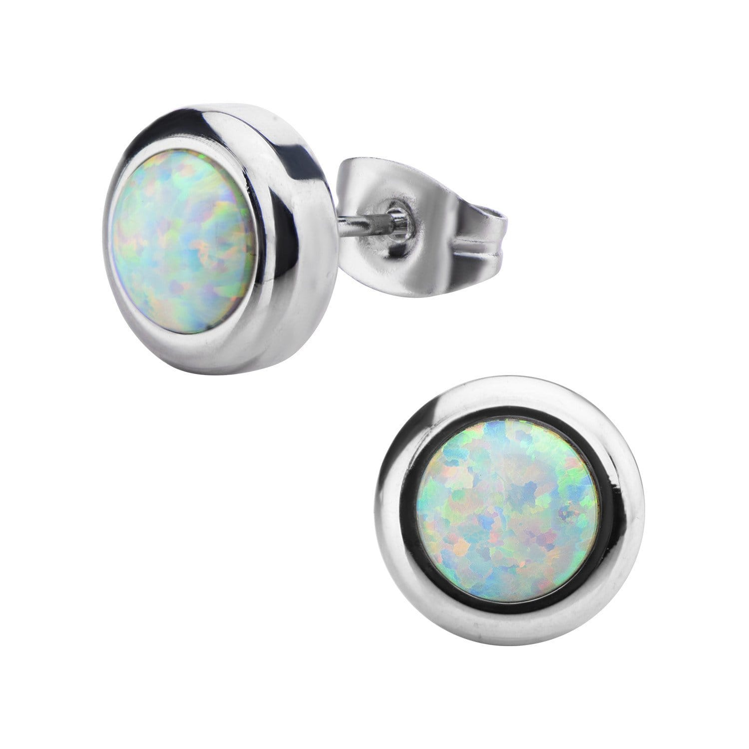 Silver Stainless Steel Bezel Set Round White Synthetic Opal Studs Earrings