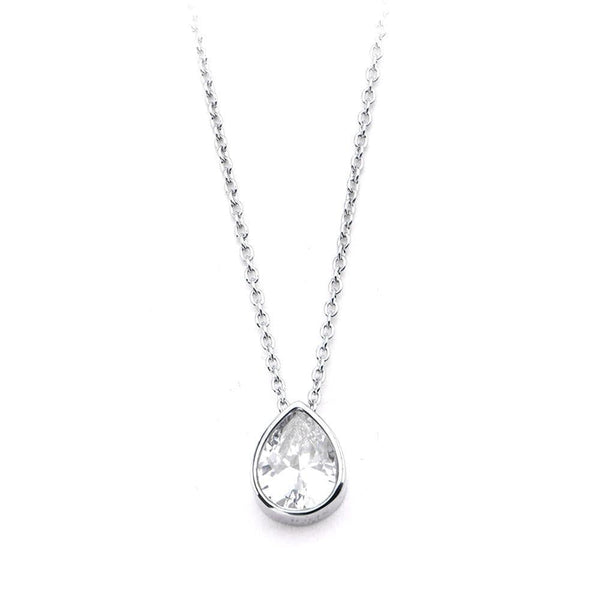 Silver Stainless Steel Bezel Tear-Drop White CZ Pendant & Chain Pendants