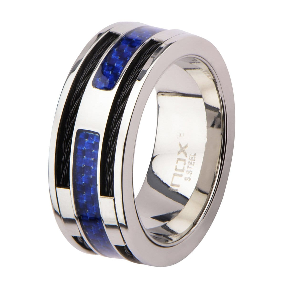 Silver Stainless Steel Black Cable & Blue Carbon Fiber Ring Rings
