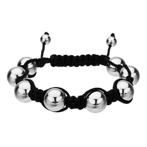 Silver Stainless Steel & Black Cloth 10mm Shamballa Bracelet Bracelets