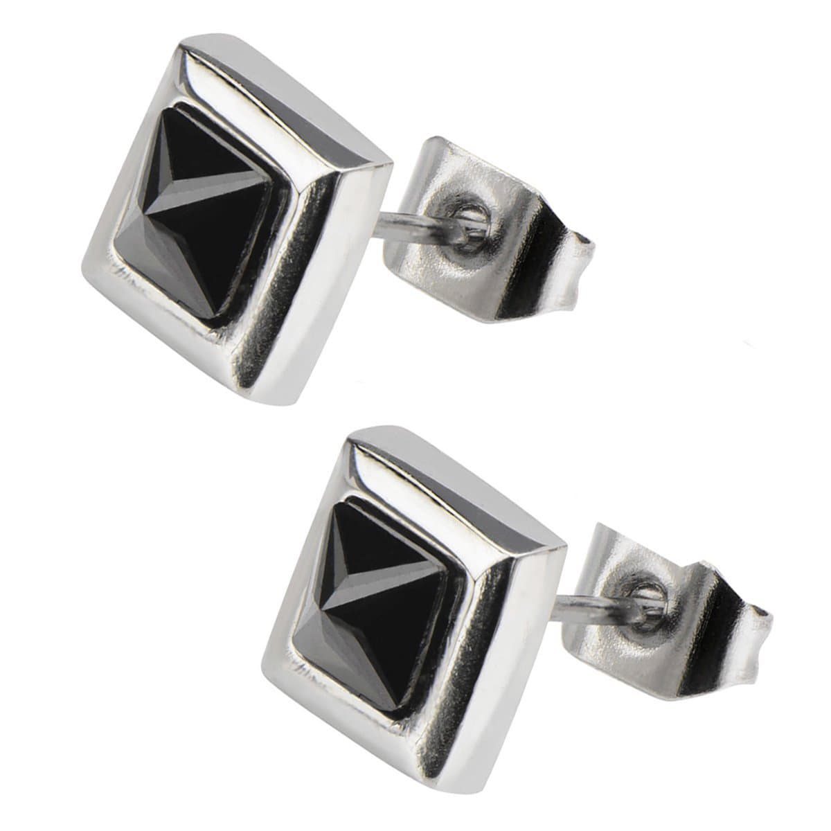Silver Stainless Steel Black Pyramid Crystal Square Studs