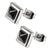 Silver Stainless Steel Black Pyramid Crystal Square Studs Earrings