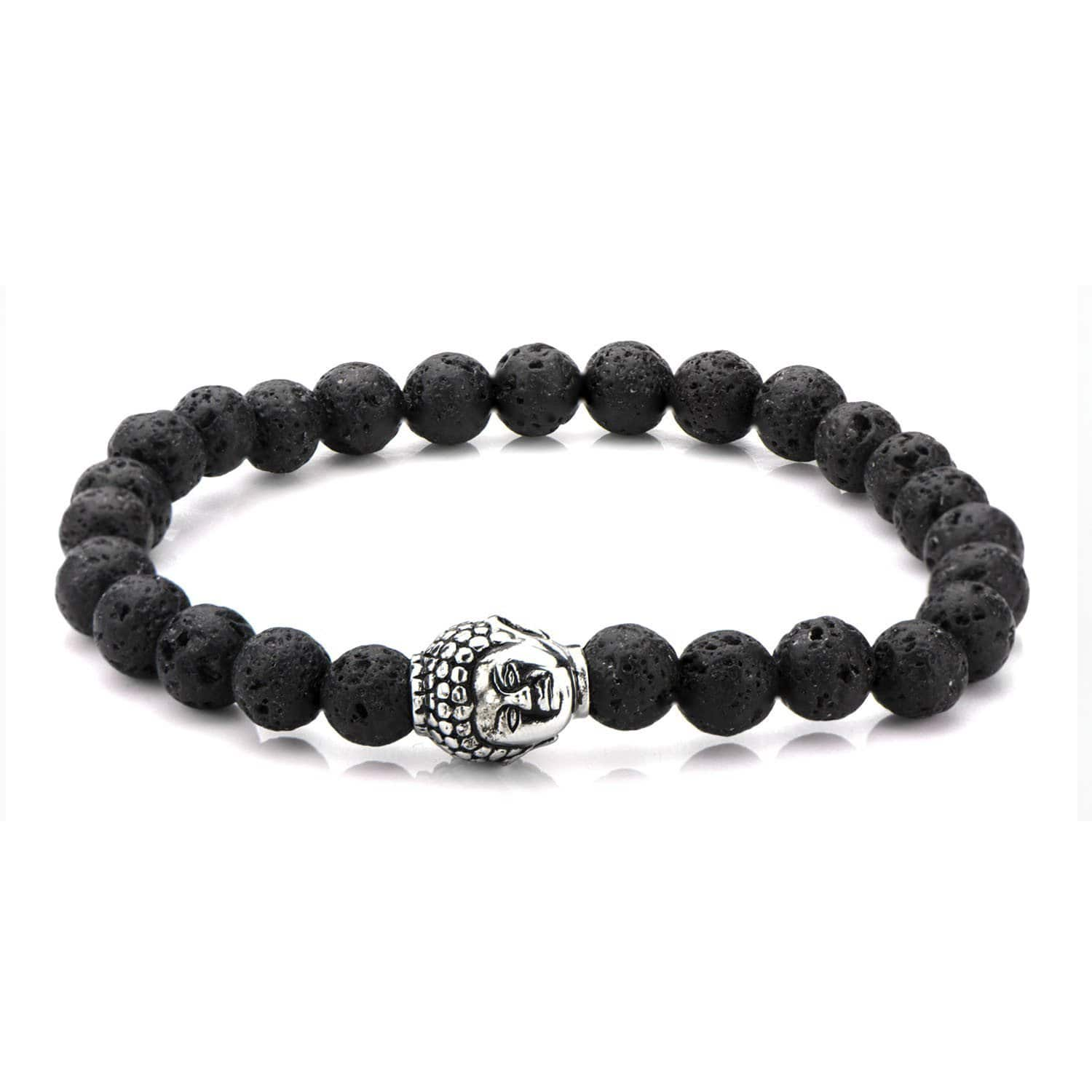 Silver Stainless Steel Buddha on Black Lava Satin Stretch Bracelet Bracelets