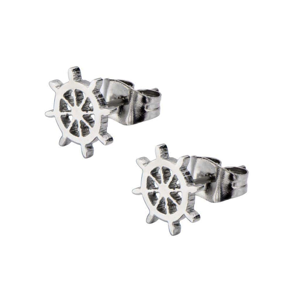 Silver Stainless Steel Captain's Wheel Cut-Out Studs Earrings
