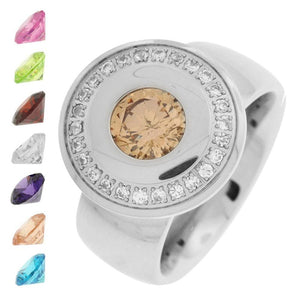 Silver Stainless Steel Changeable Rainbow CZ Ring Rings