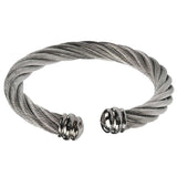 Silver Stainless Steel Chunky Twisted Cable Open Kadaa