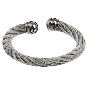 Silver Stainless Steel Chunky Twisted Cable Open Bangle Bracelets