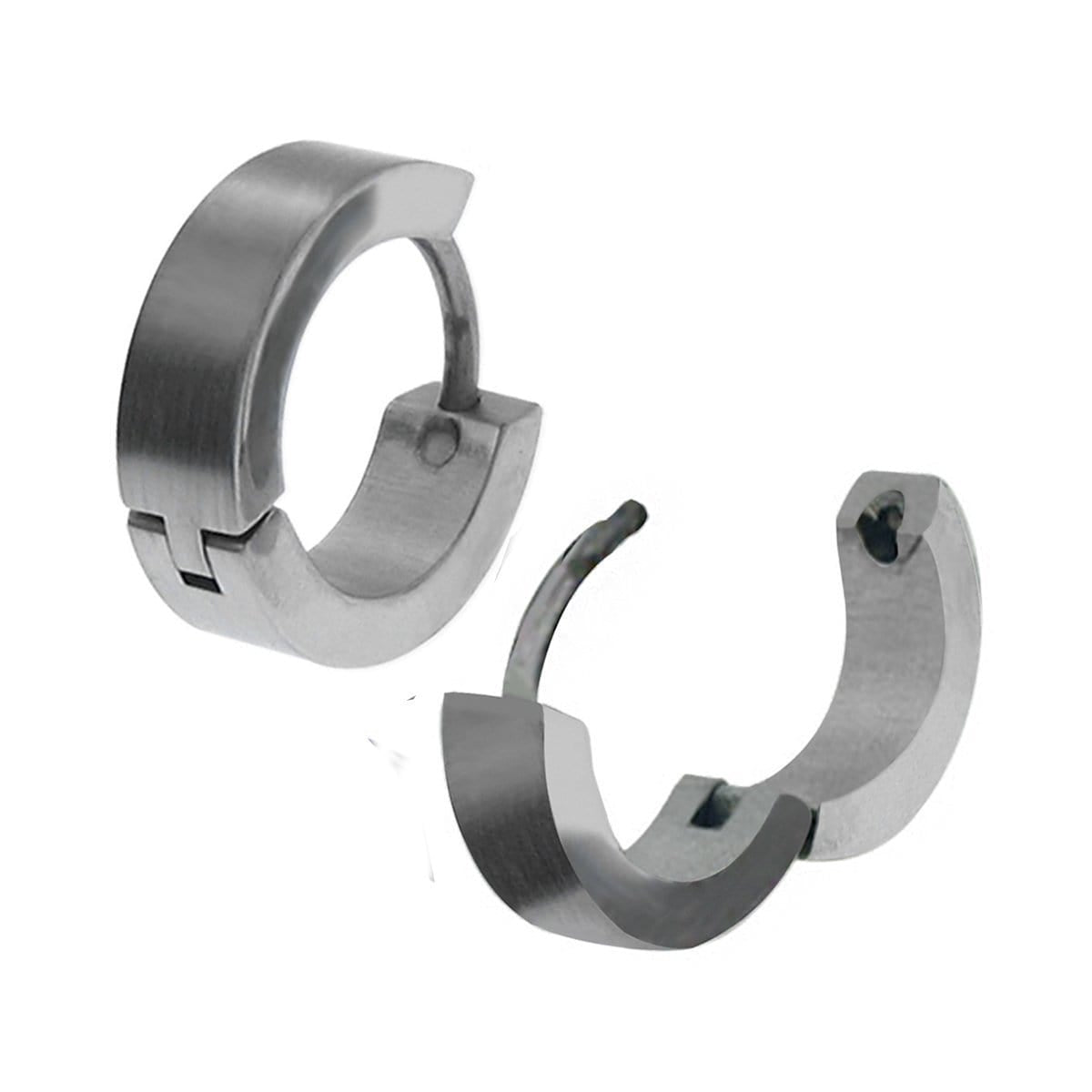 Silver Stainless Steel Classic 3.5 mm Huggies Earrings