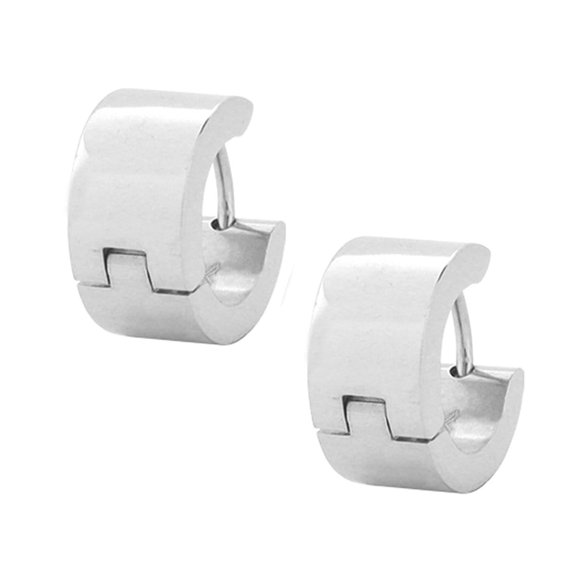 Silver Stainless Steel Classic 6.8 mm Huggies Earrings