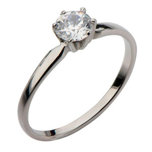 Silver Stainless Steel Classic 6-Prong Solitaire White CZ Engagement Ring Rings