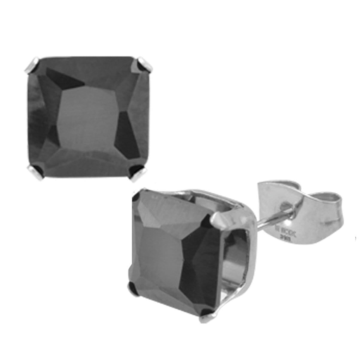 Silver Stainless Steel Classic Princess-Cut Black CZ Studs Earrings