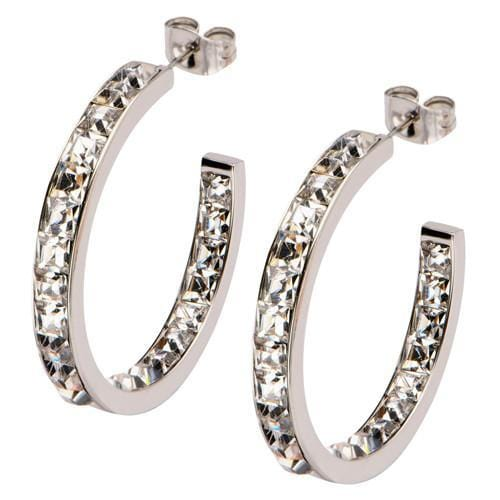Silver Stainless Steel Classic Princess Cut Inside Out Hoops Earrings