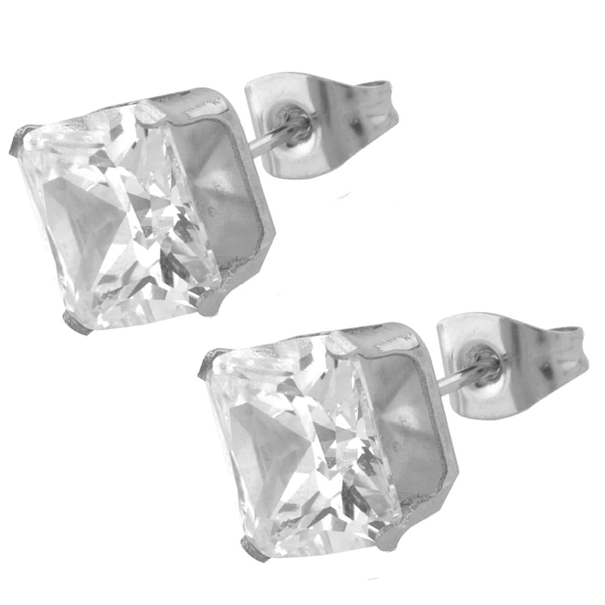 Silver Stainless Steel Classic Princess-Cut White CZ Studs Earrings