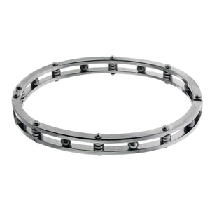 Silver Stainless Steel Coil and Ball Bangle Bracelets