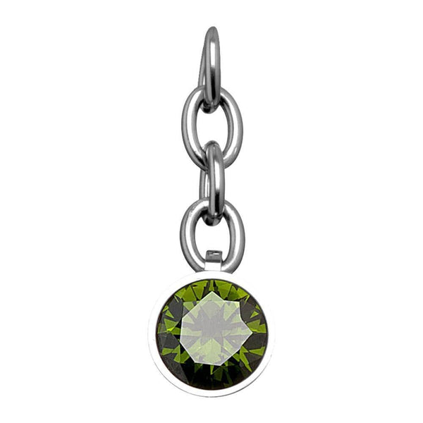 Silver Stainless Steel CZ Olive Green Charm Pendant Accessories